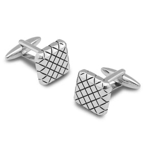 Silver Samurai Crosshatch Cufflinks