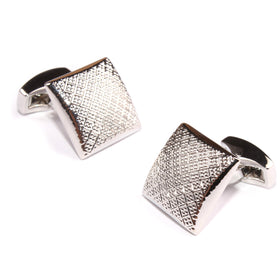 Silver Square Dotted Textured Cufflinks