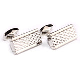 Silver Studded Diamond Pyramid Cufflinks Front OTAA