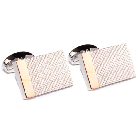 Silver Studded Rectangle Bar Cufflinks