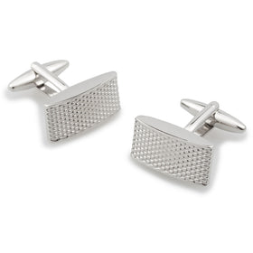 Silver Textured Rectangular Bend Cufflinks