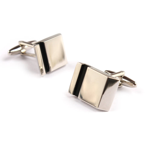 Silver with Black Groove Cufflinks