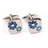 Silver with Blue Flower Cufflinks Front OTAA