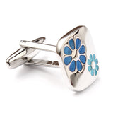 Silver with Blue Flower Cufflinks Middle OTAA