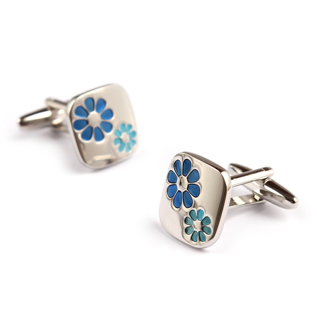 Silver with Blue Flower Cufflinks