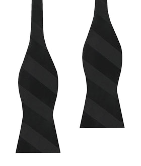 Sinatra Black Striped Self Bow Tie