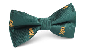 Skull & Crossbones Green Bow Tie