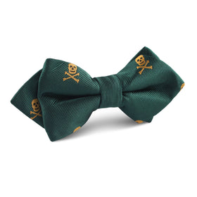 Skull & Crossbones Green Diamond Bow Tie