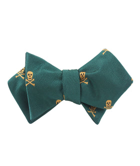 Skull & Crossbones Green Diamond Self Bow Tie