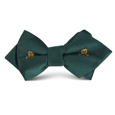 Skull & Crossbones Green Kids Diamond Bow Tie