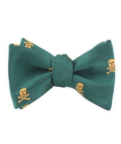 Skull & Crossbones Green Self Bow Tie