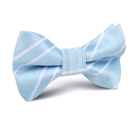 Sky Light Blue Double Stripe Kids Bow Tie