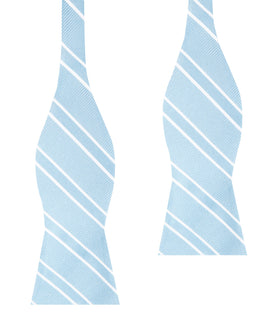 Sky Light Blue Double Stripe Self Bow Tie