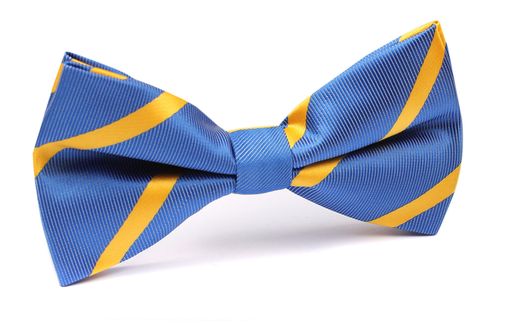 Sky Blue Bow Tie with Yellow Stripe