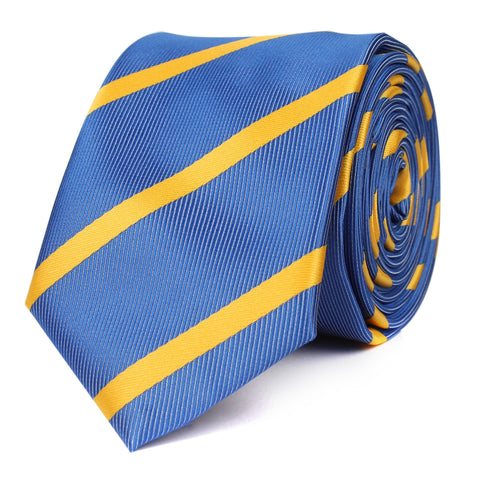 Sky Blue Skinny Tie with Yellow Stripe