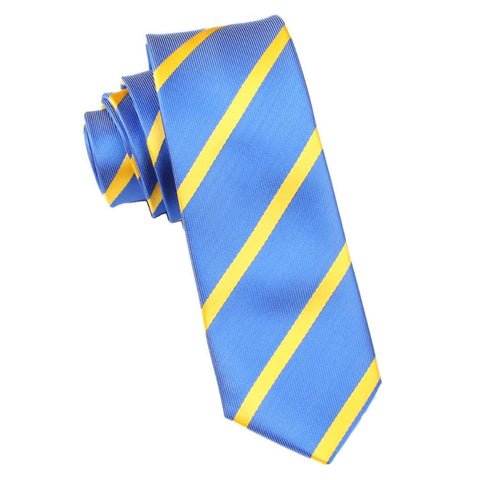 Sky Blue Skinny Tie with Yellow Stripes