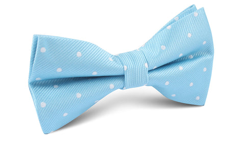 Sky Blue with White Polka Dots Bow Tie