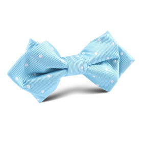 Sky Blue with White Polka Dots Diamond Bow Tie