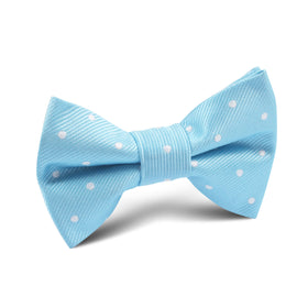 Sky Blue with White Polka Dots Kids Bow Tie
