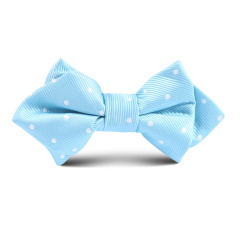 Sky Blue with White Polka Dots Kids Diamond Bow Tie