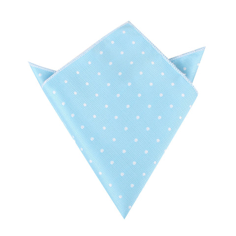 Sky Blue with White Polka Dots Pocket Square