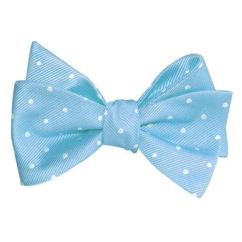 Sky Blue with White Polka Dots Self Tie Bow Tie