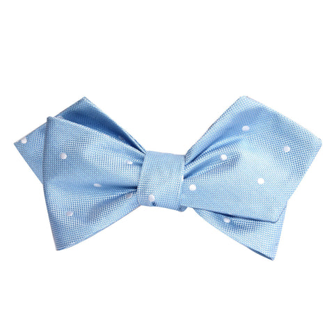 Sky Blue with White Polka Dots Self Tie Diamond Tip Bow Tie