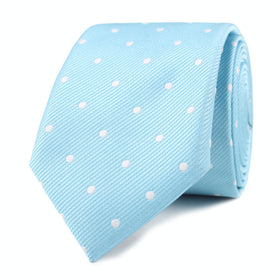 Sky Blue with White Polka Dots Skinny Tie