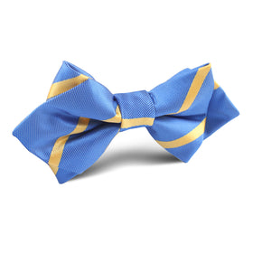 Sky Blue with Yellow Stripe Diamond Bow Tie
