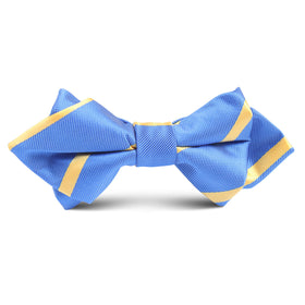 Sky Blue with Yellow Stripe Kids Diamond Bow Tie