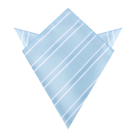 Sky Light Blue Double Stripe Pocket Square