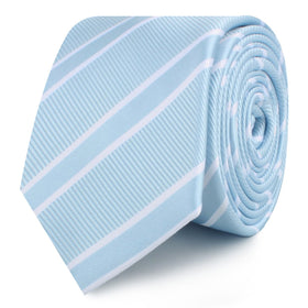 Sky Light Blue Double Stripe Skinny Tie