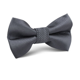 Slate Grey Charcoal Basket Weave Kids Bow Tie