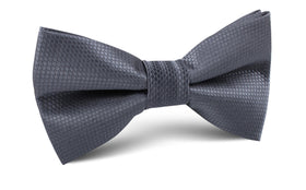 Slate Grey Charcoal Basket Weave Bow Tie