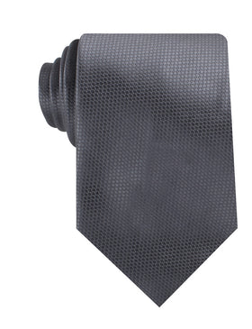 Slate Grey Charcoal Basket Weave Necktie