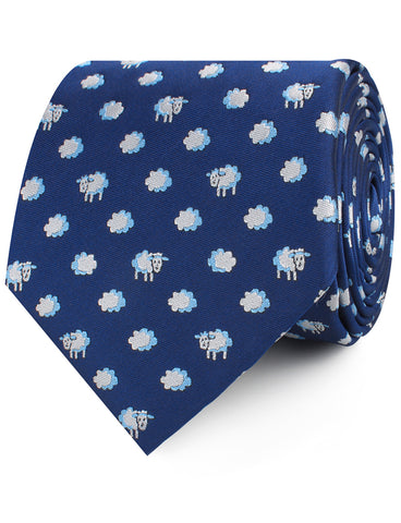 Sleepy Sheep Blue Necktie