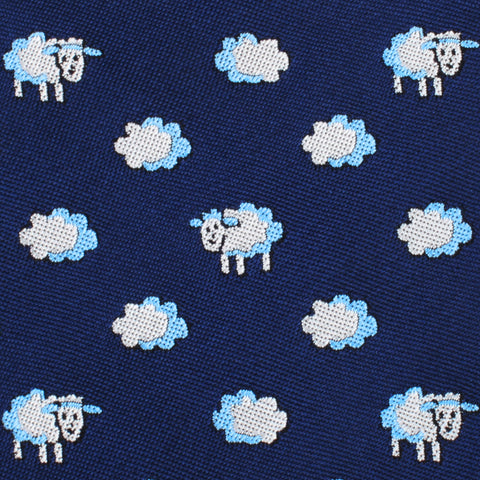 Sleepy Sheep Blue Pocket Square