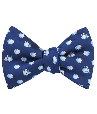 Sleepy Sheep Blue Self Bow Tie
