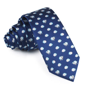 Sleepy Sheep Blue Skinny Tie