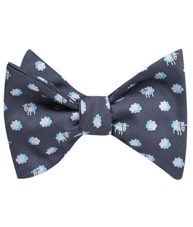 Sleepy Sheep Grey Self Bow Tie