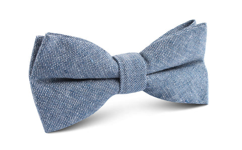 Smoke Blue Slub Linen Bow Tie