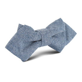 Smoke Blue Slub Linen Diamond Bow Tie