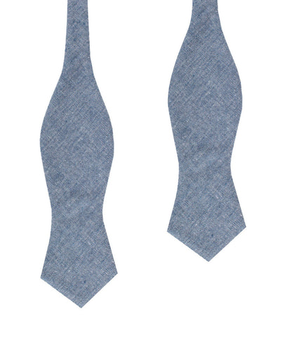 Smoke Blue Slub Linen Diamond Self Bow Tie