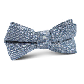 Smoke Blue Slub Linen Kids Bow Tie