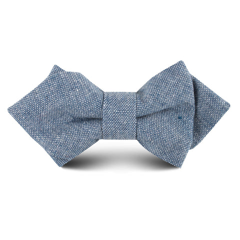 Smoke Blue Slub Linen Kids Diamond Bow Tie