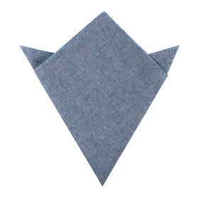 Smoke Blue Slub Linen Pocket Square