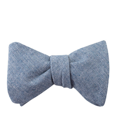 Smoke Blue Slub Linen Self Bow Tie