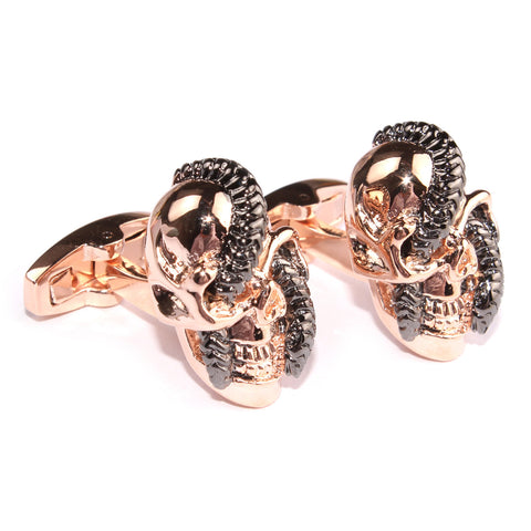 Snake in Skull Rose Gold Cufflinks