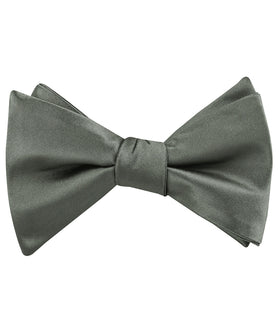 Soft Charcoal Crisp Satin Self Bow Tie