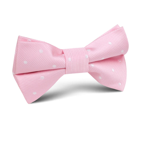 Soft Pink Polka Dots Kids Bow Tie